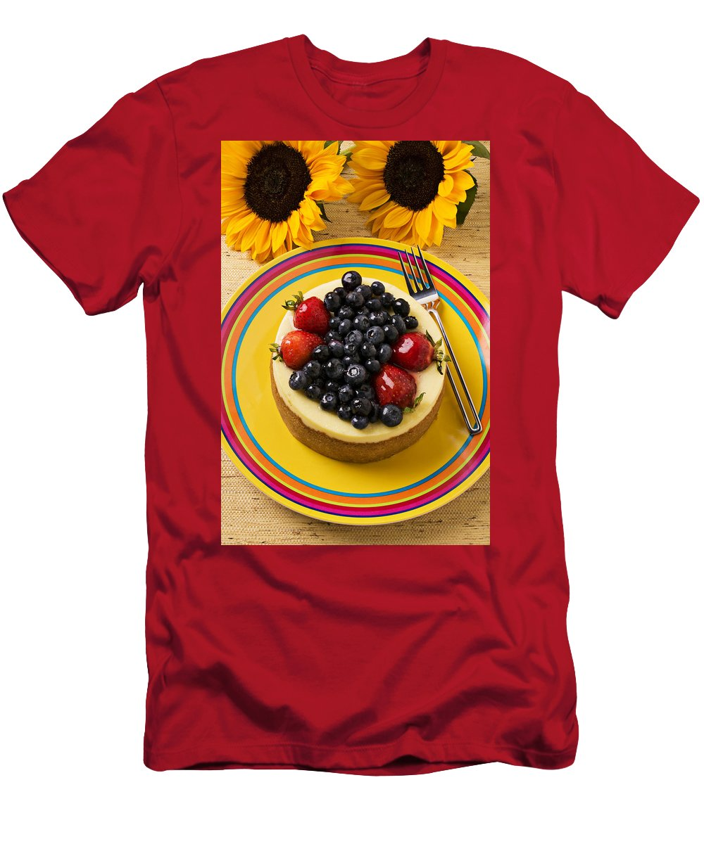 Fruit Men's T-Shirt (Athletic Fit) featuring the photograph Cheesecake With Fruit by Garry Gay
