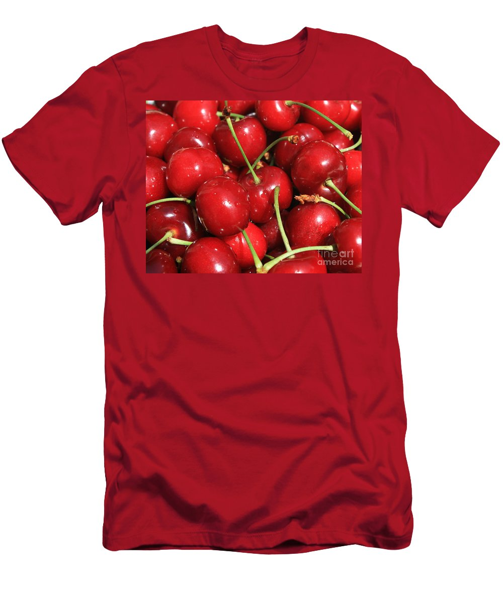 Food And Beverages Men's T-Shirt (Athletic Fit) featuring the photograph Cherries by Carol Groenen