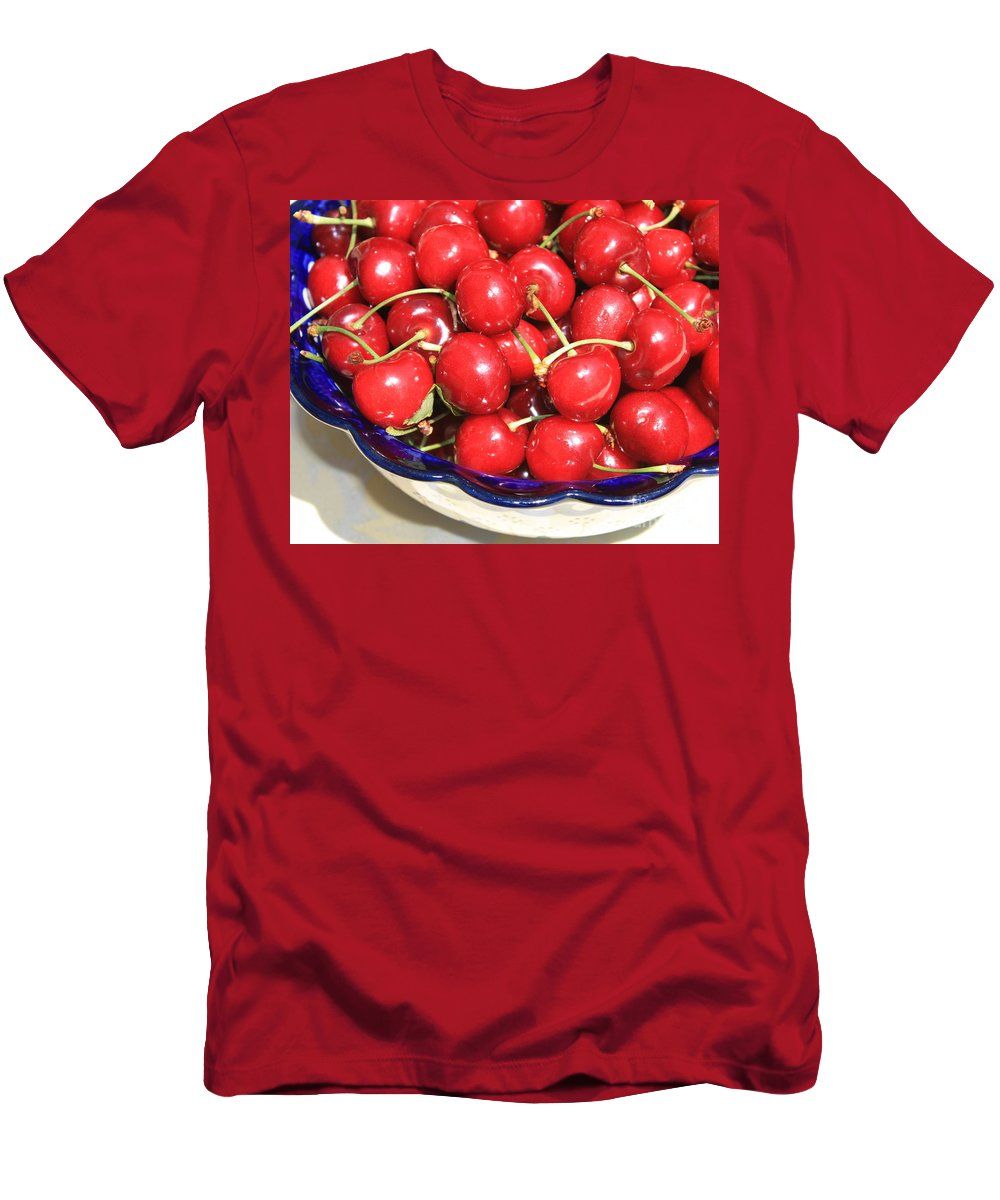 Food Men's T-Shirt (Athletic Fit) featuring the photograph Cherries In A Bowl Close-up by Carol Groenen