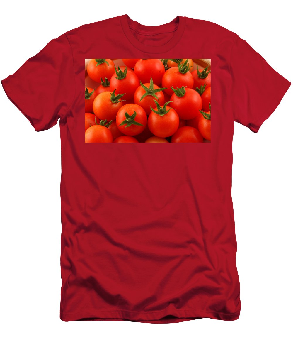 Cherry Tomatoes Men's T-Shirt (Athletic Fit) featuring the photograph Cherry Tomatoes Fine Art Food Photography by James BO Insogna