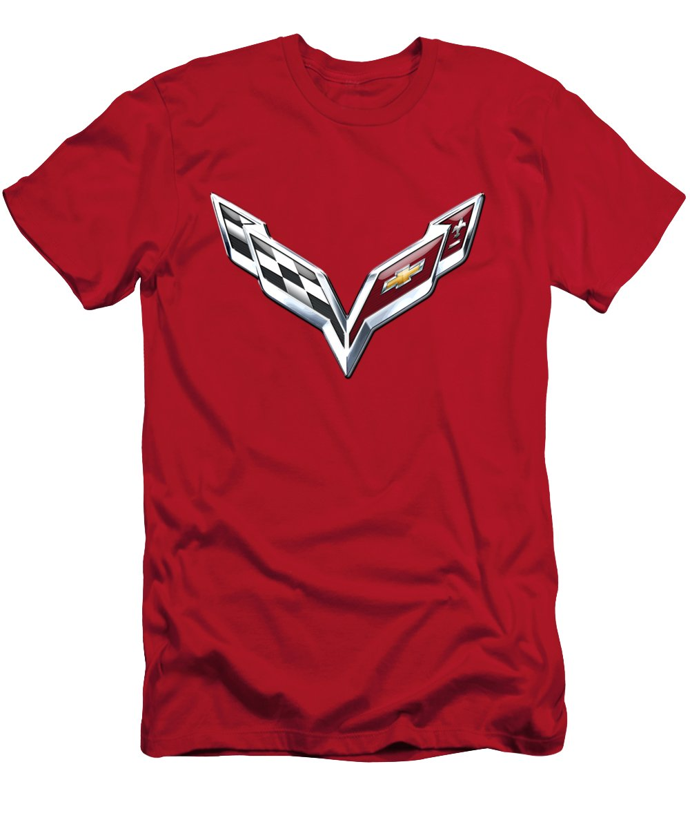 'wheels Of Fortune' Collection By Serge Averbukh Men's T-Shirt (Athletic Fit) featuring the photograph Chevrolet Corvette - 3d Badge On Red by Serge Averbukh