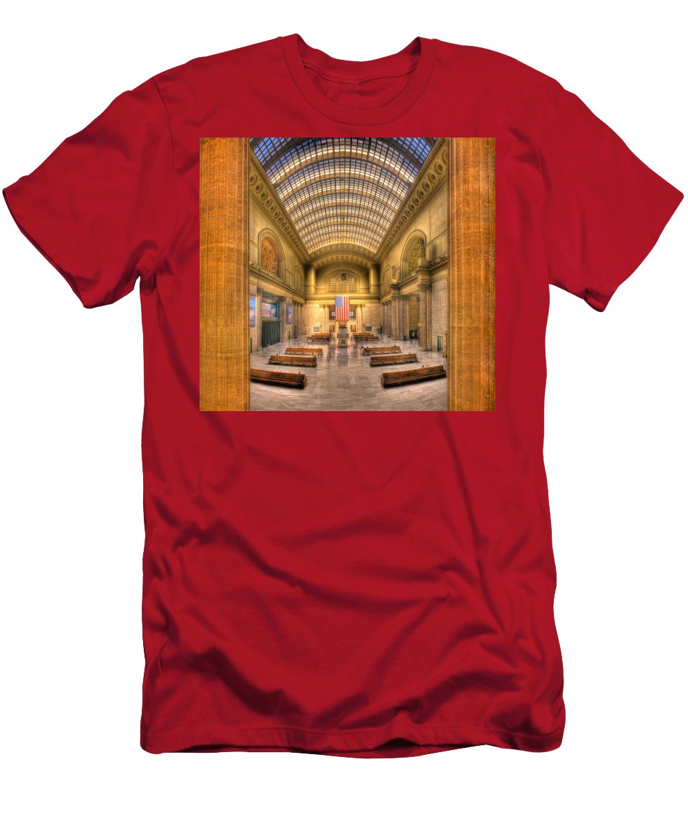 Chicago Men's T-Shirt (Athletic Fit) featuring the photograph Chicagos Union Station by Steve Gadomski