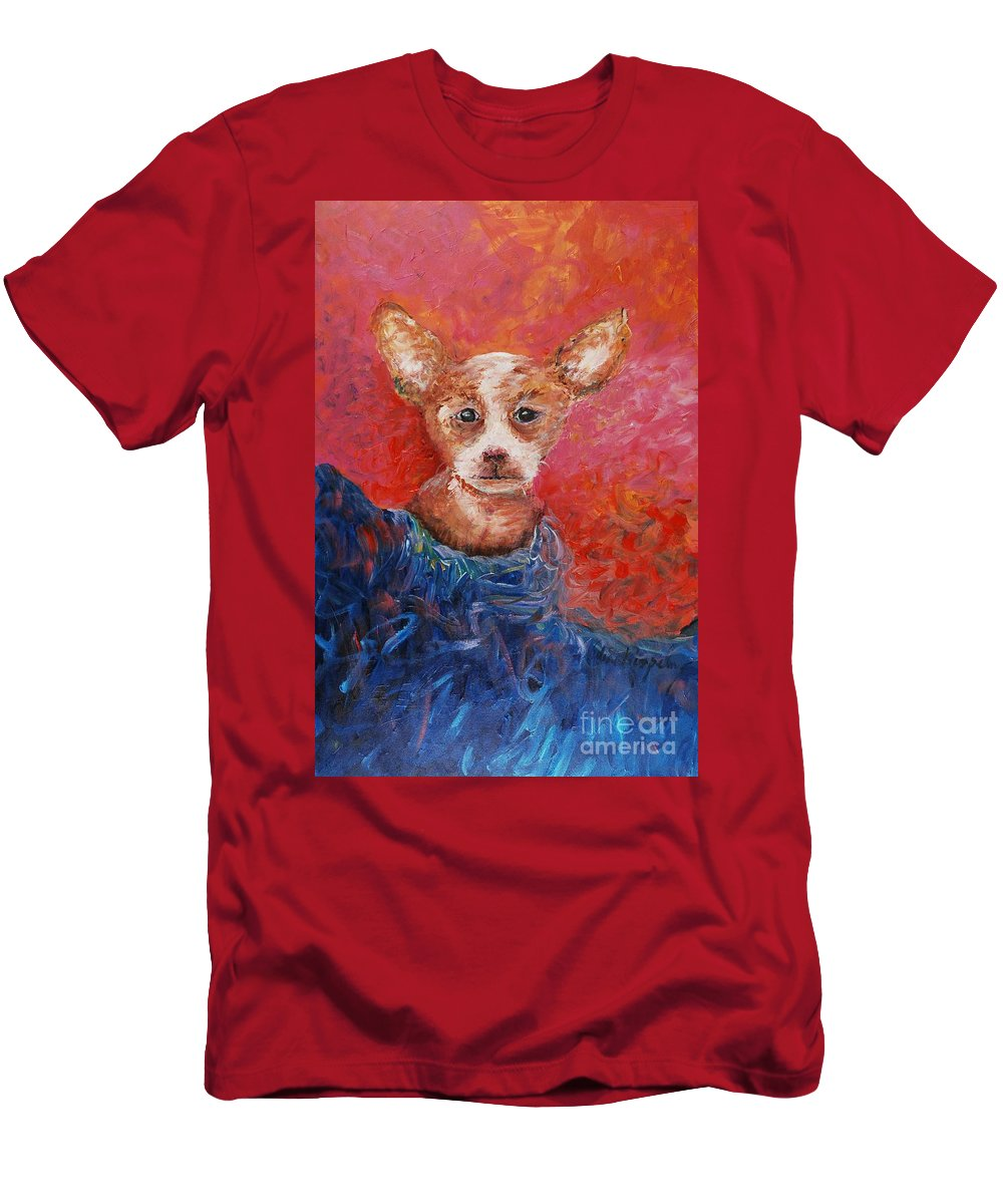 Dog Men's T-Shirt (Athletic Fit) featuring the painting Chihuahua Blues by Nadine Rippelmeyer