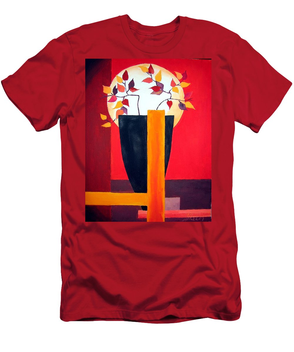 Flower Men's T-Shirt (Athletic Fit) featuring the painting Chinese Flower On Vase by Alban Dizdari
