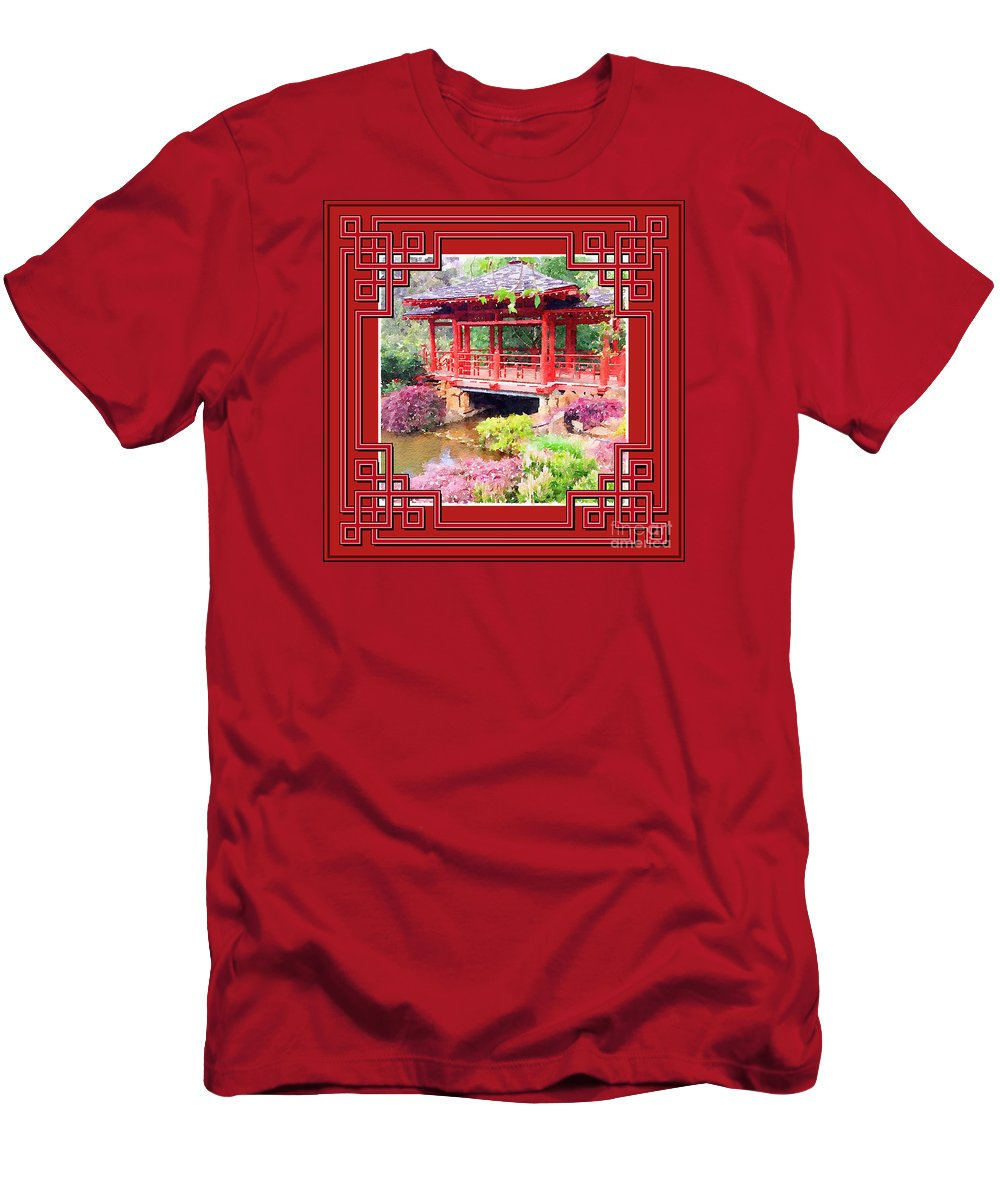 Chinese New Year Men's T-Shirt (Athletic Fit) featuring the photograph Chinese Pavilion Rhododendron Gardens Burnie Tasmania by Circles Of Beauty Dawair Al Jameelah