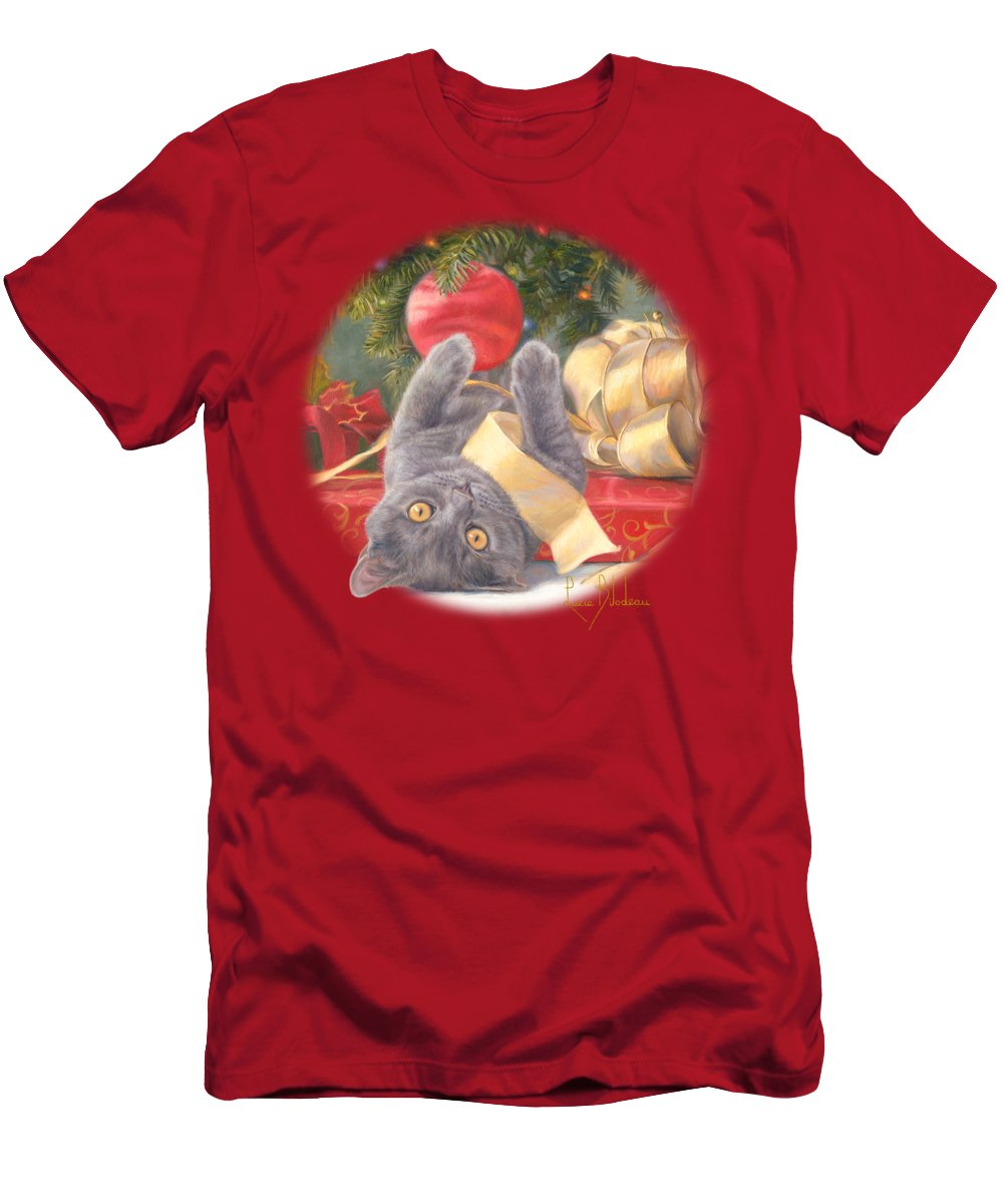 Cat Men's T-Shirt (Athletic Fit) featuring the painting Christmas Surprise by Lucie Bilodeau
