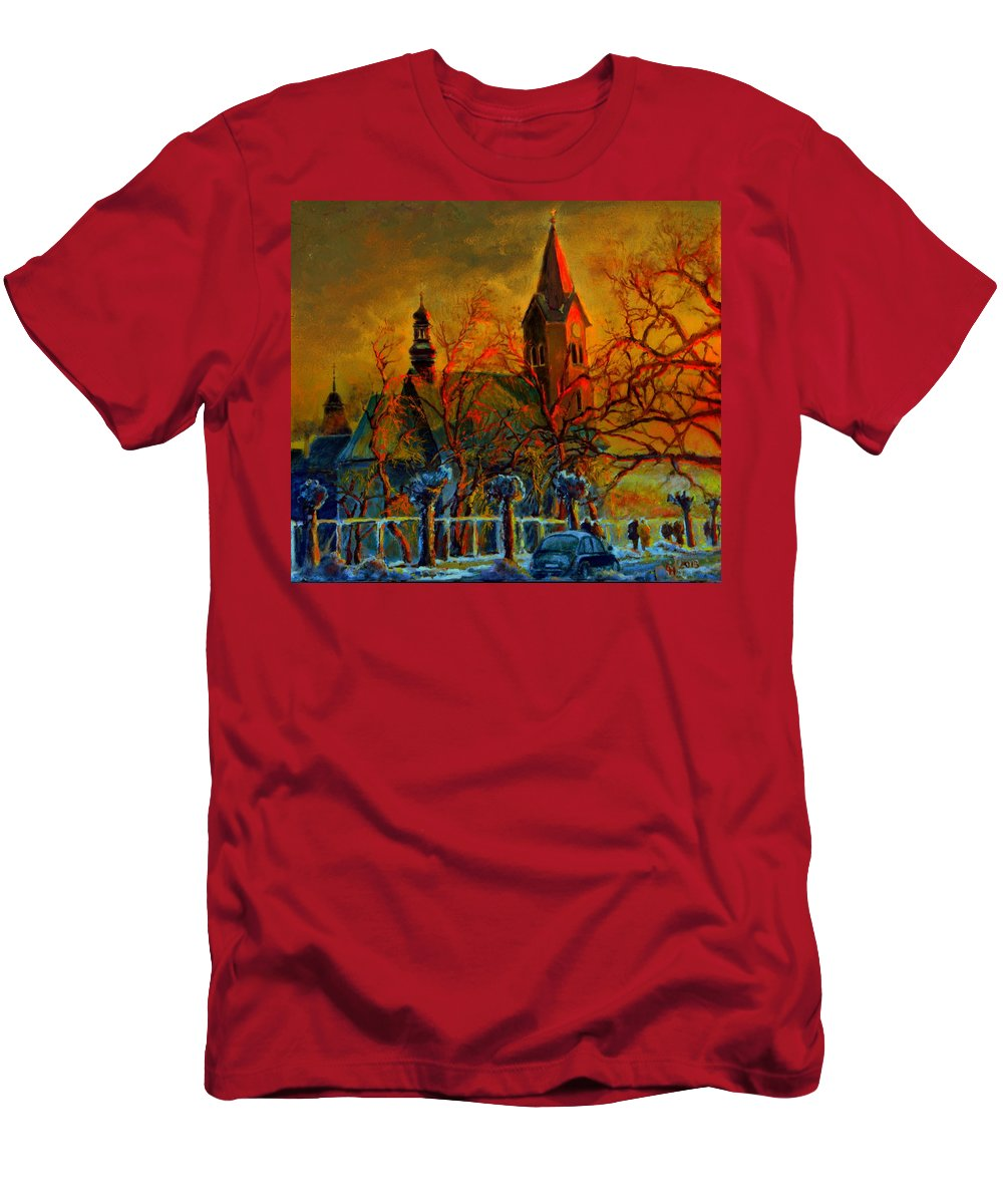 Henryk Men's T-Shirt (Athletic Fit) featuring the painting Church Winter Sunset by Henryk Gorecki