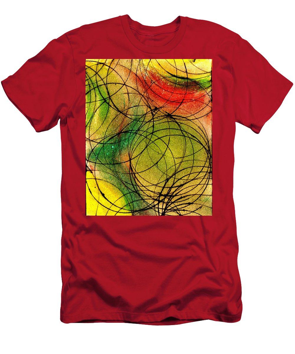 Abstract Men's T-Shirt (Athletic Fit) featuring the painting Circles by Wayne Potrafka