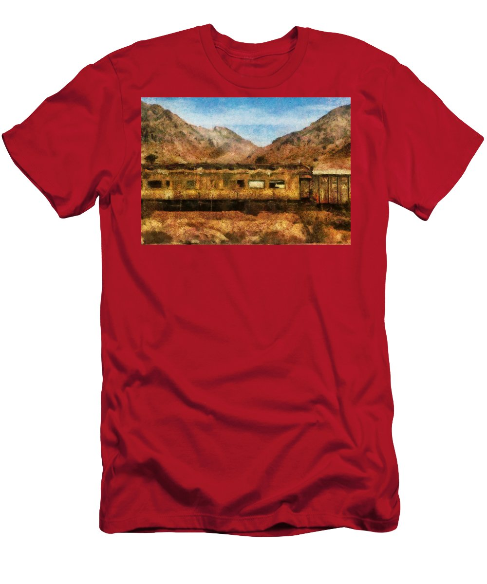 Savad Men's T-Shirt (Athletic Fit) featuring the photograph City - Arizona - Desert Train by Mike Savad