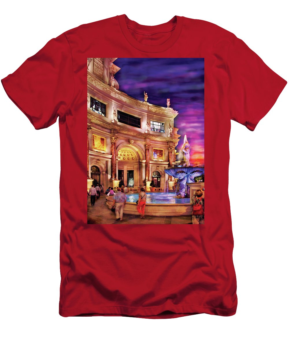 Savad Men's T-Shirt (Athletic Fit) featuring the photograph City - Vegas - Mirage - The Entrance by Mike Savad