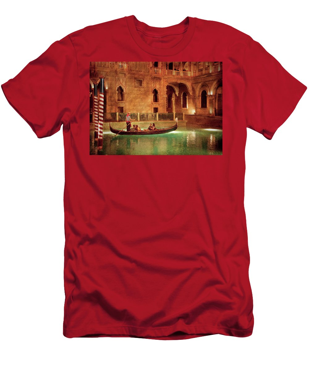 Savad Men's T-Shirt (Athletic Fit) featuring the photograph City - Vegas - Venetian - The Gondola's Of Venice by Mike Savad