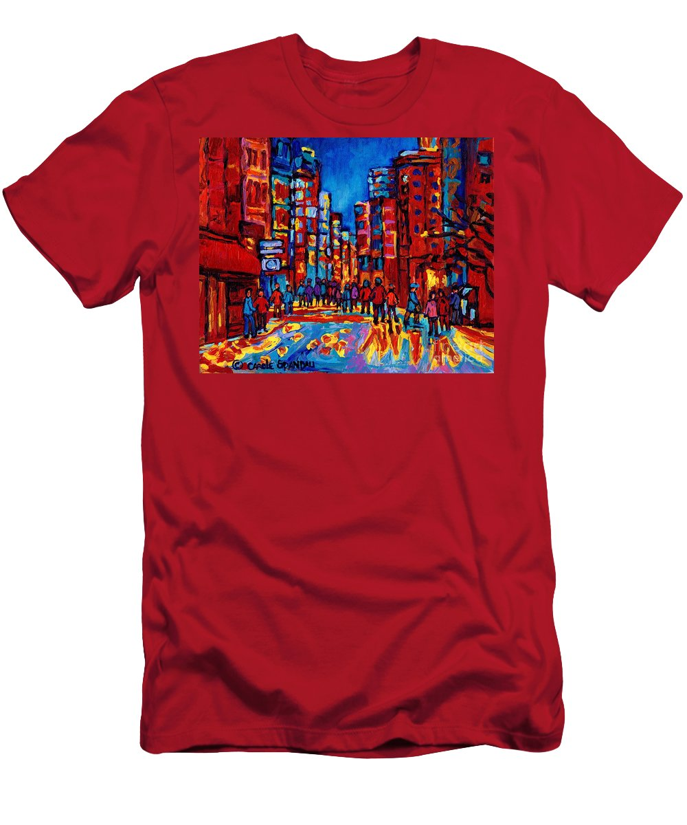 Montreal Men's T-Shirt (Athletic Fit) featuring the painting City After The Rain by Carole Spandau
