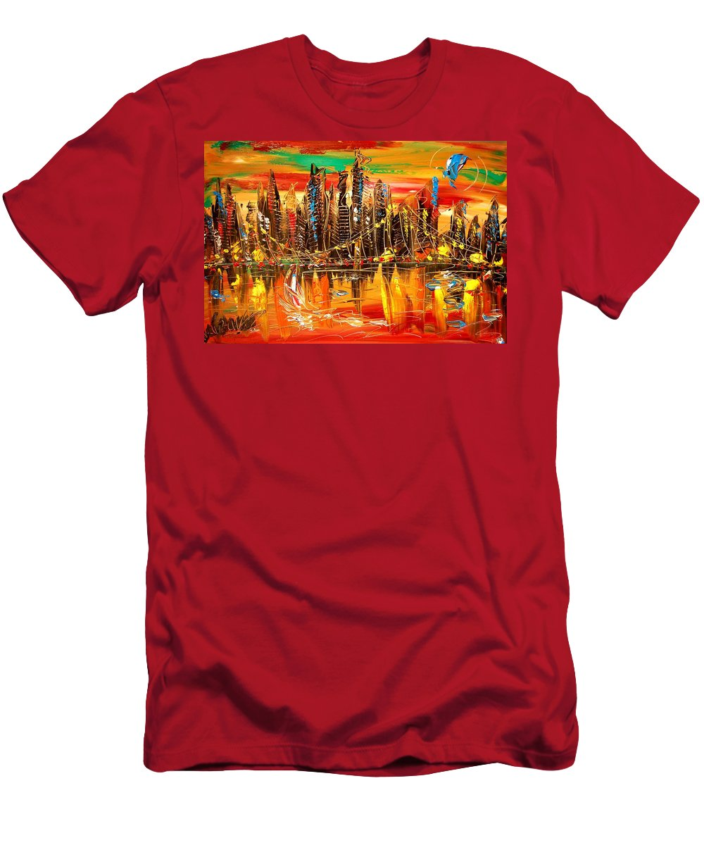 New York Men's T-Shirt (Athletic Fit) featuring the painting City Sky by Mark Kazav