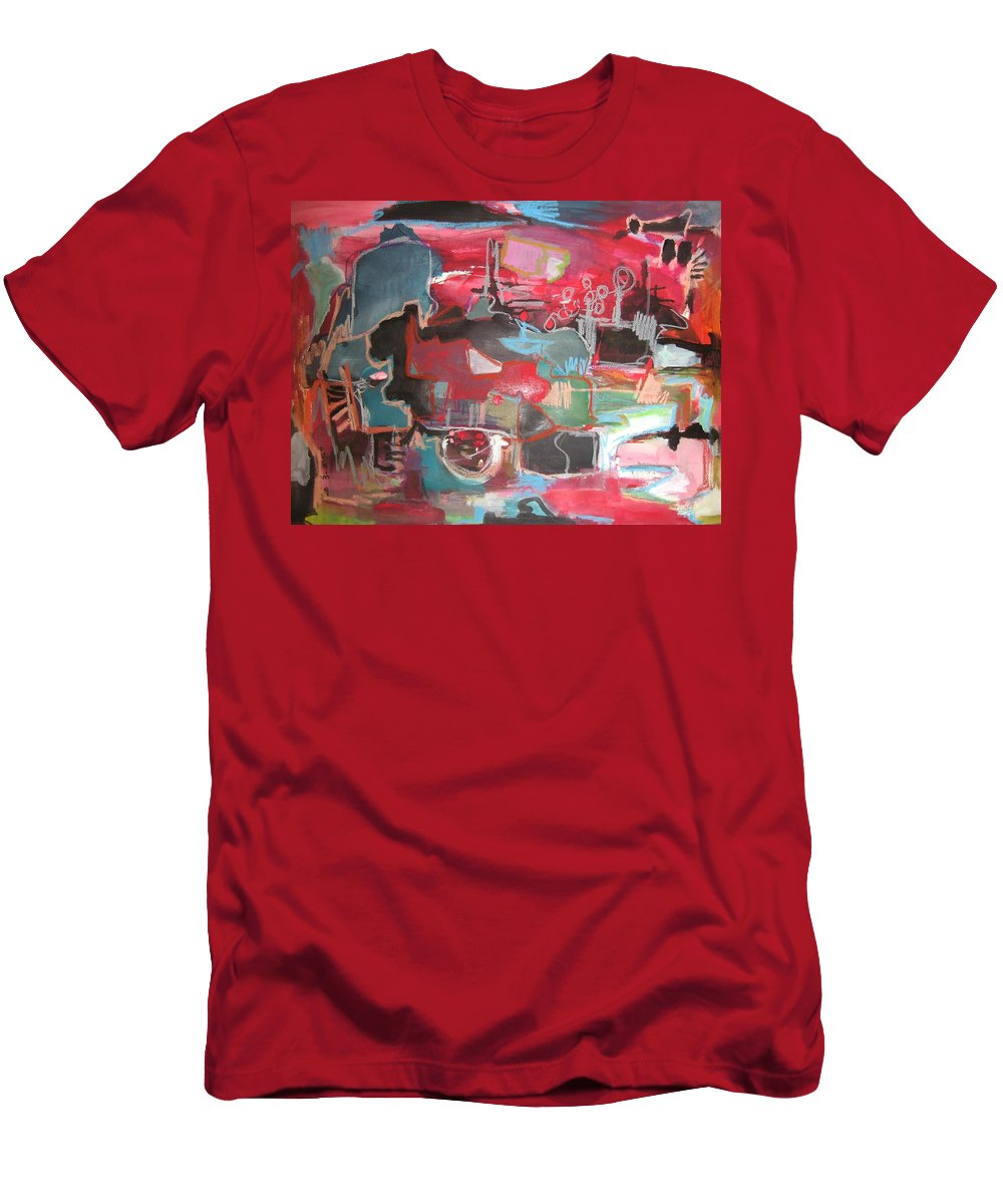 Abstract Paintings Men's T-Shirt (Athletic Fit) featuring the painting Citysacpe At Twilight Original Abstract Colorful Landscape Painting For Sale Red Blue by Seon-Jeong Kim