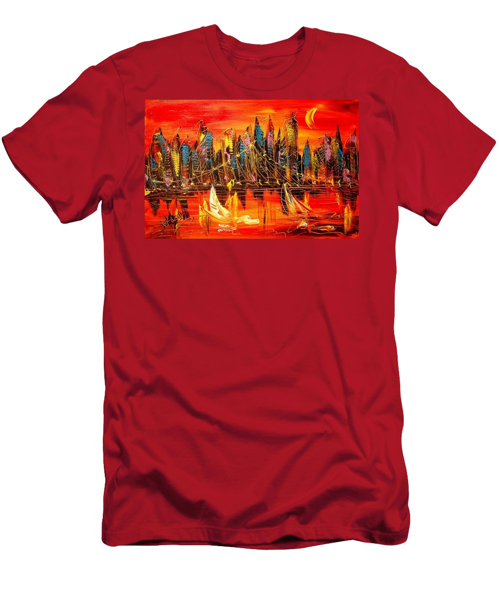Men's T-Shirt (Athletic Fit) featuring the painting Cityscape by Mark Kazav