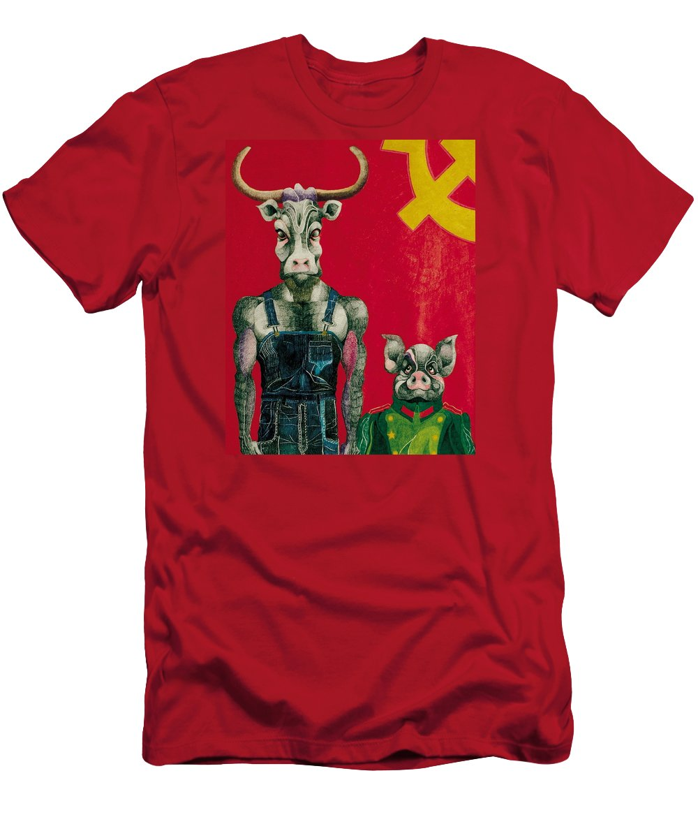 Animals Men's T-Shirt (Athletic Fit) featuring the drawing Civil Union by Nelson F Martinez