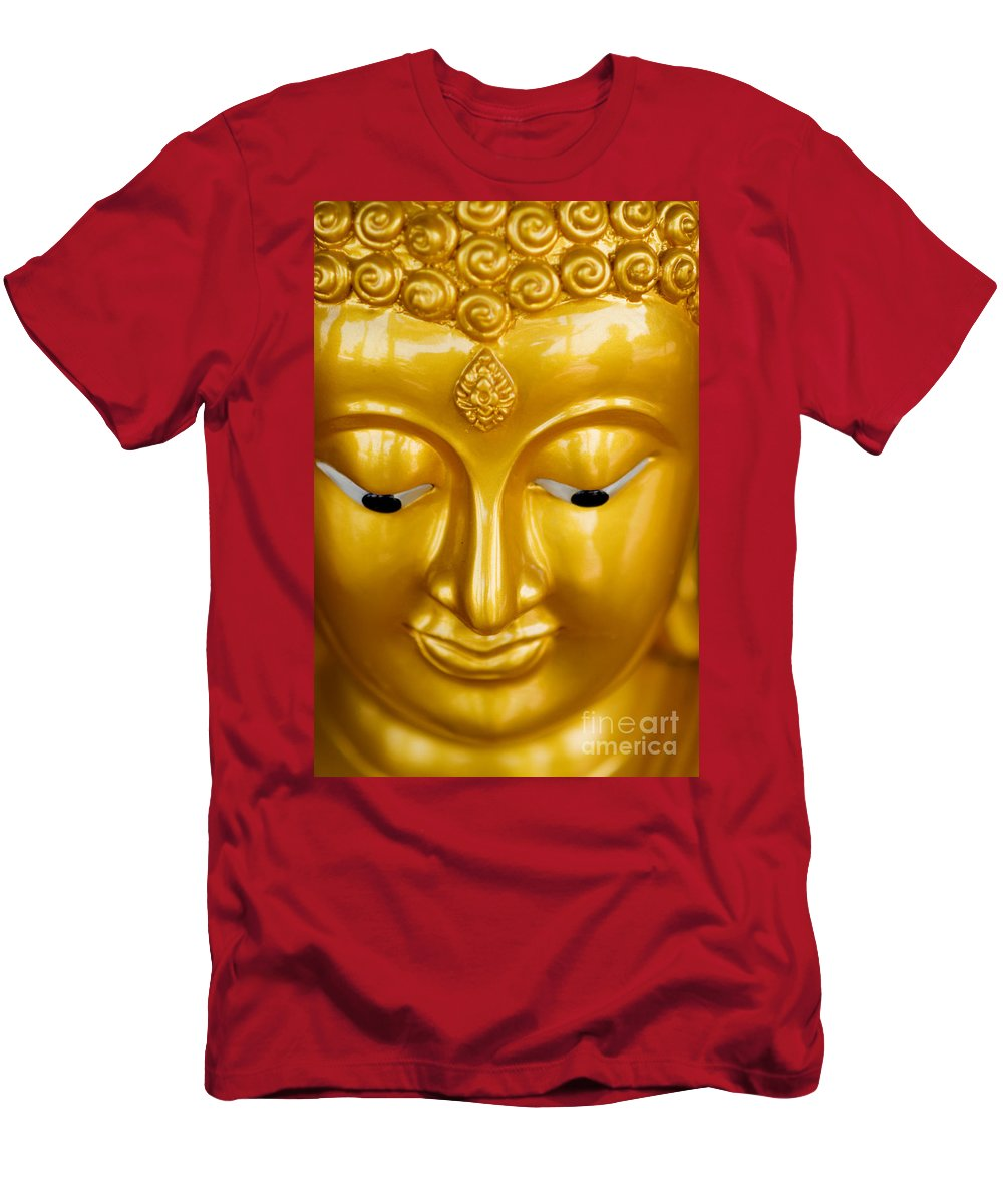 Art Men's T-Shirt (Athletic Fit) featuring the photograph Close-up Of A Golden Buddha by Ray Laskowitz - Printscapes