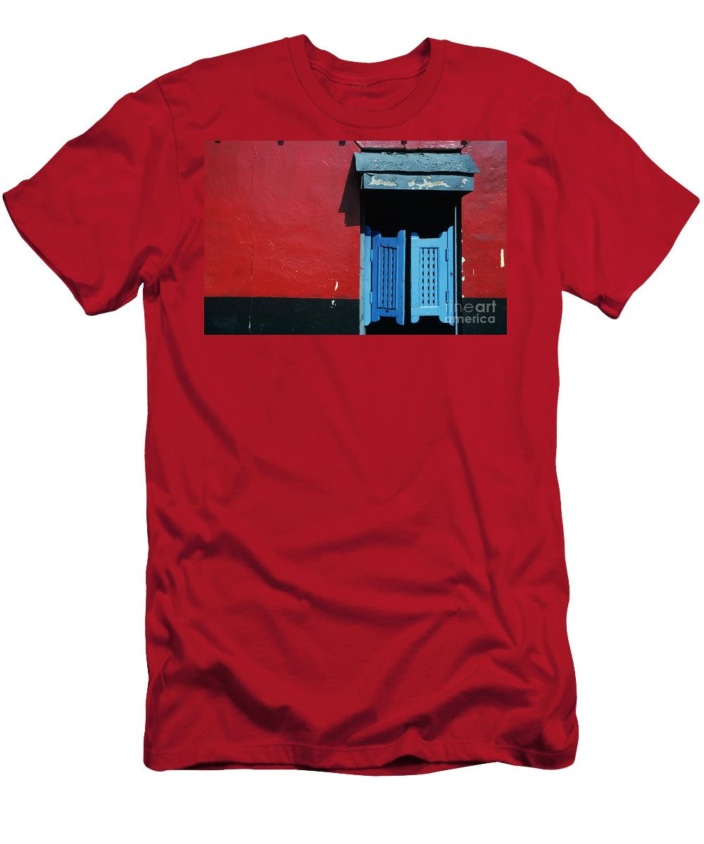 Architecture Men's T-Shirt (Athletic Fit) featuring the photograph Colorful Caribbean Door by Larry Dale Gordon - Printscapes