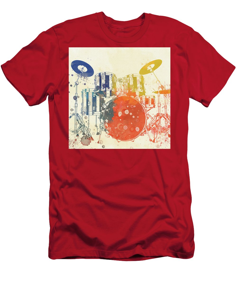 Colorful Drum Set T-Shirt featuring the painting Colorful Drum Set by Dan Sproul