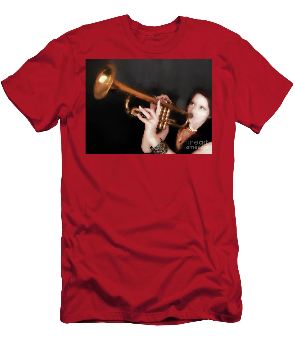 Fine Art Photography Men's T-Shirt (Athletic Fit) featuring the photograph Come Blow Your Horn ... by Chuck Caramella
