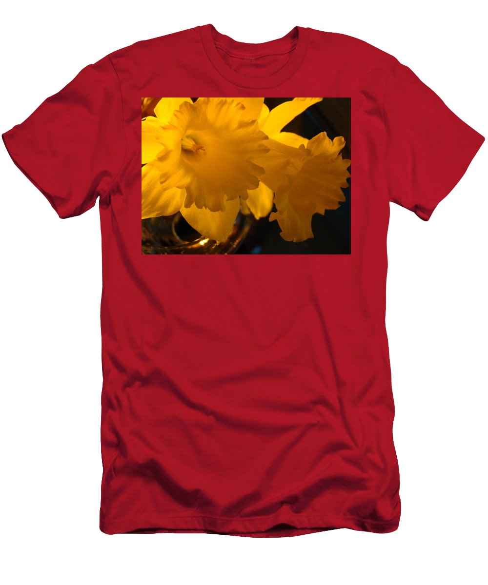 �daffodils Artwork� Men's T-Shirt (Athletic Fit) featuring the photograph Contemporary Flower Artwork 10 Daffodil Flowers Evening Glow by Baslee Troutman
