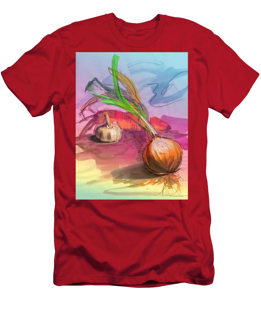 Still Life Men's T-Shirt (Athletic Fit) featuring the painting Cooking In Spain by Miki De Goodaboom