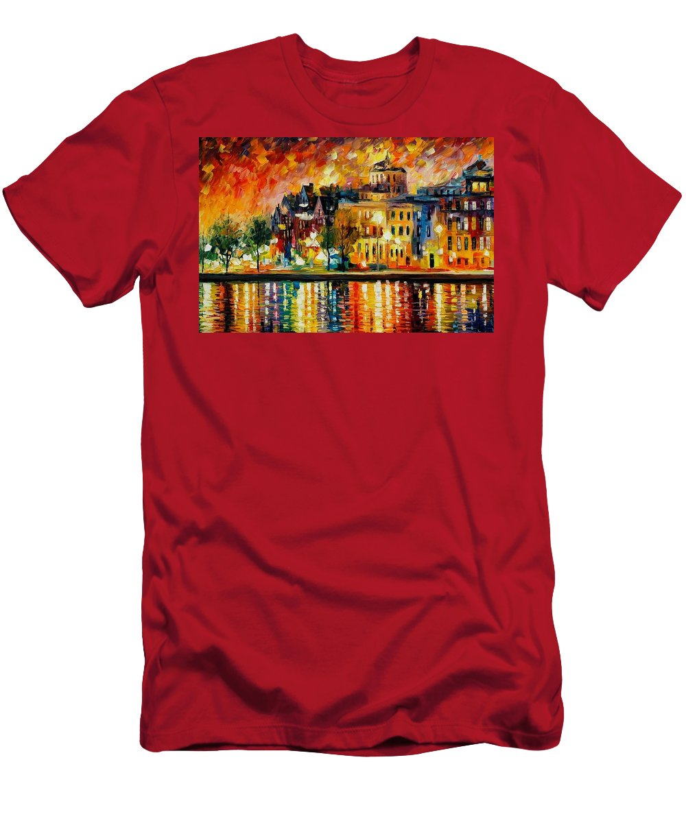 City Men's T-Shirt (Athletic Fit) featuring the painting Copenhagen Original Oil Painting by Leonid Afremov