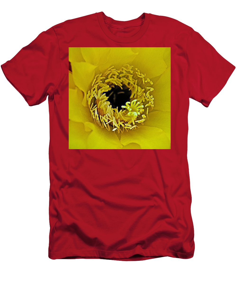 Core Of A Yellow Cactus Flower At Pilgrim Place In Claremont Men's T-Shirt (Athletic Fit) featuring the photograph Core Of A Yellow Cactus Flower At Pilgrim Place In Claremont-california by Ruth Hager