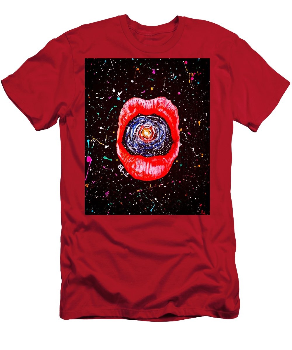 Lips Men's T-Shirt (Athletic Fit) featuring the painting Cosmic Lips 2 by Sonal Poghat