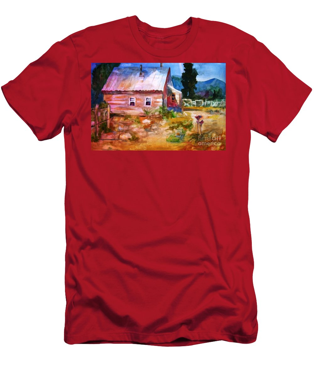 Cottage Men's T-Shirt (Athletic Fit) featuring the painting Country House by Frances Marino