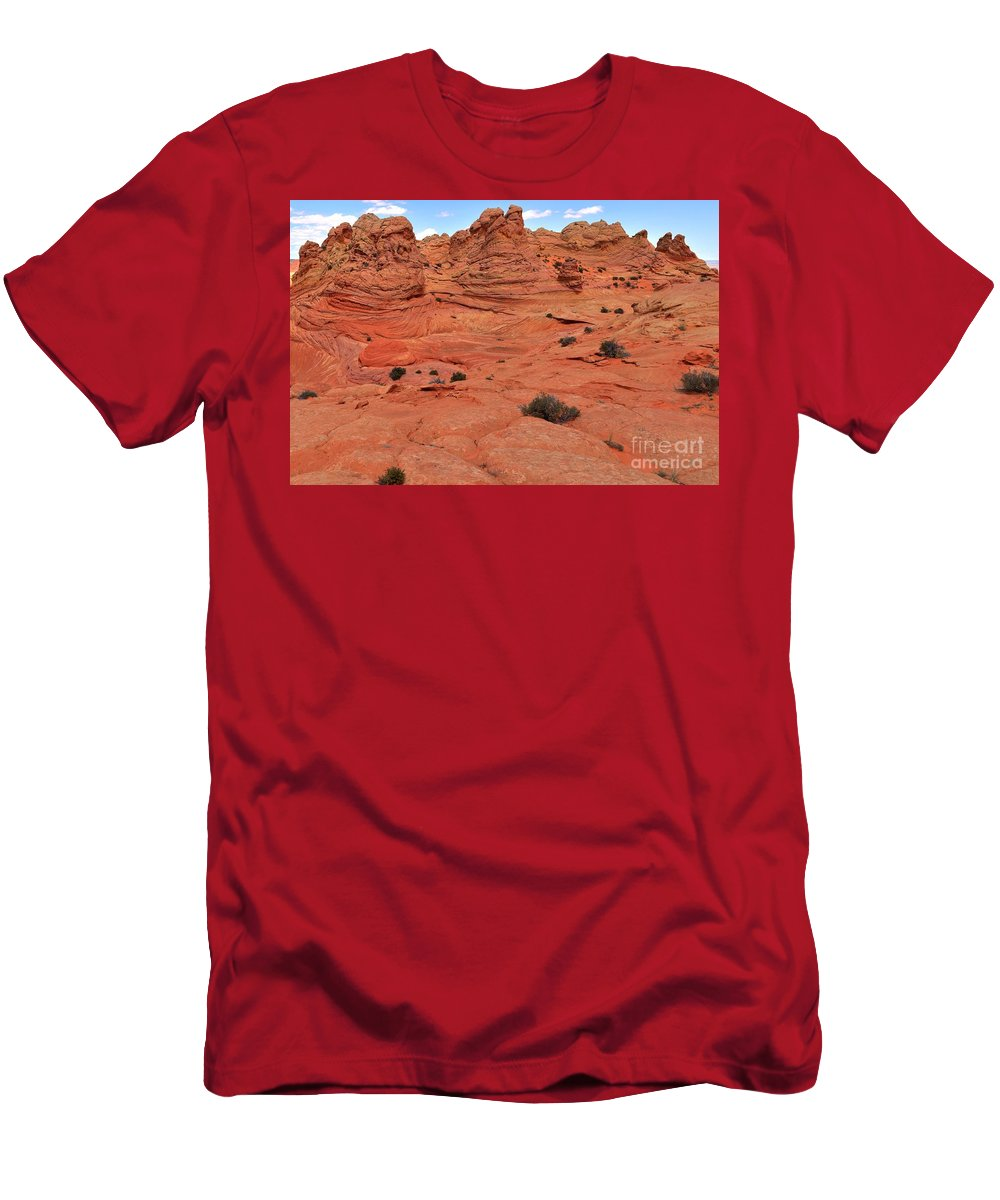 Vermilion Cliffs Panorama Men's T-Shirt (Athletic Fit) featuring the photograph Coyote Buttes Pink Landscape by Adam Jewell