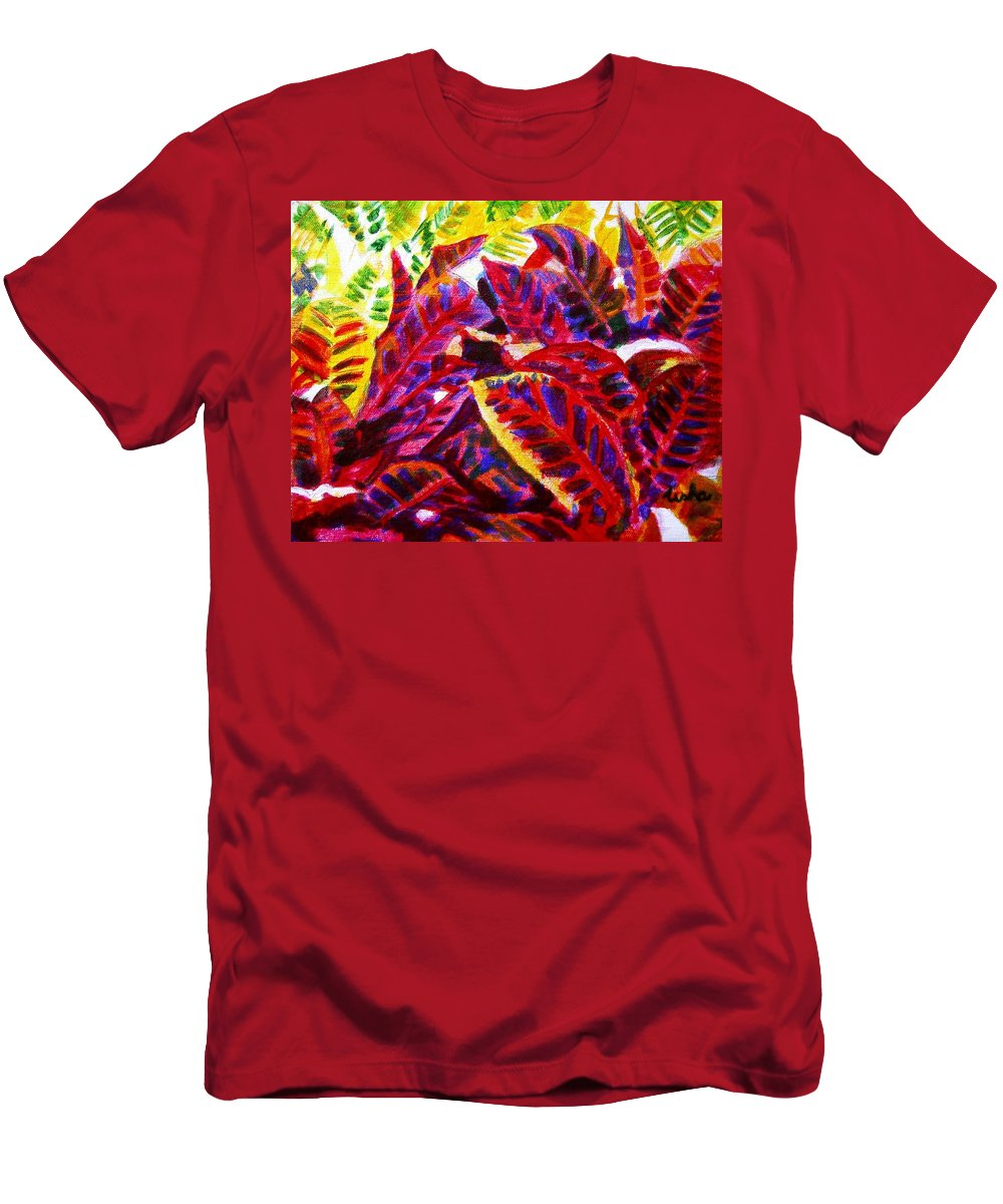 Nature Men's T-Shirt (Athletic Fit) featuring the painting Crotons Sunlit 1 by Usha Shantharam
