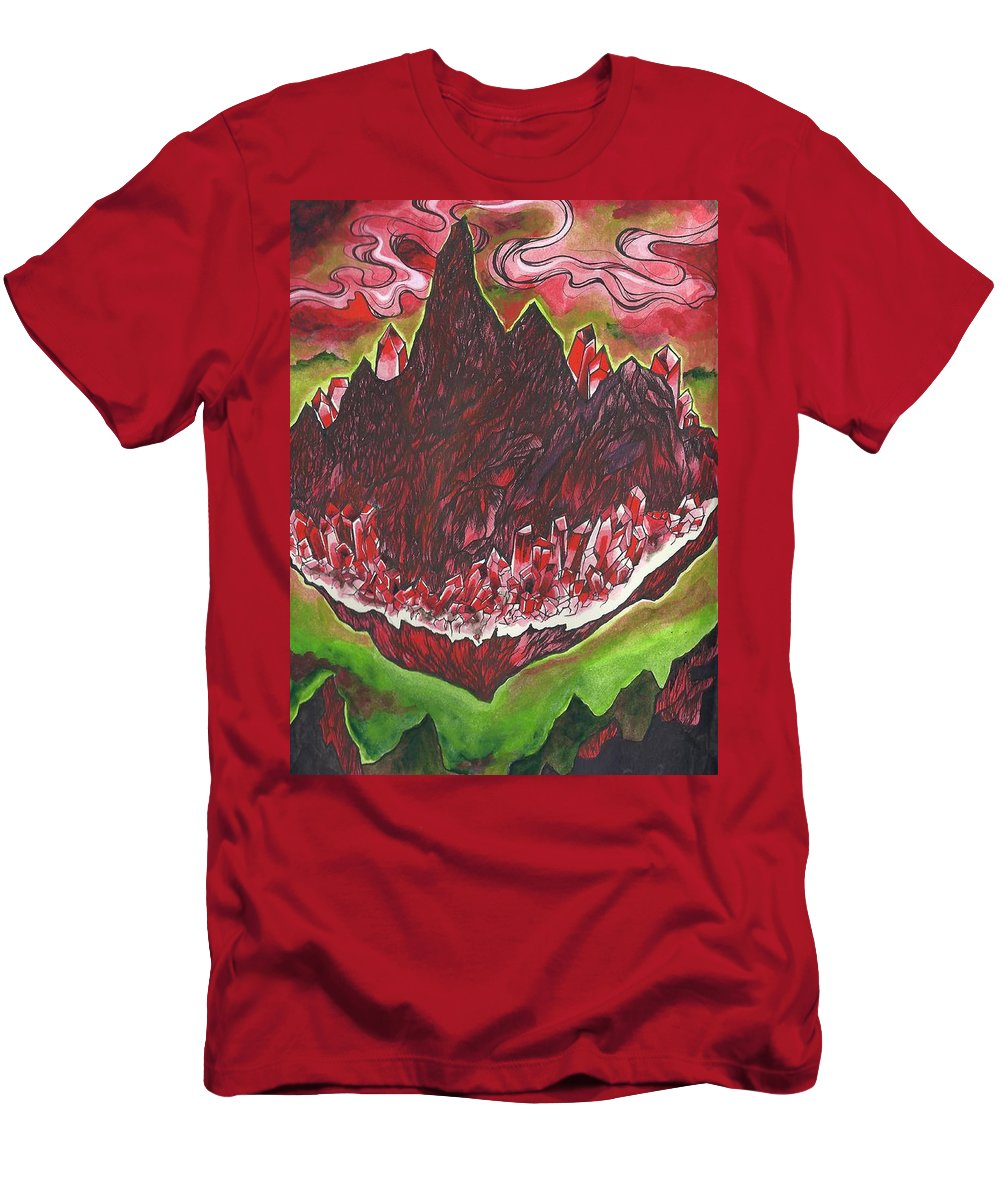 Crystal Men's T-Shirt (Athletic Fit) featuring the drawing Crystal Mountain by Kristen Petty
