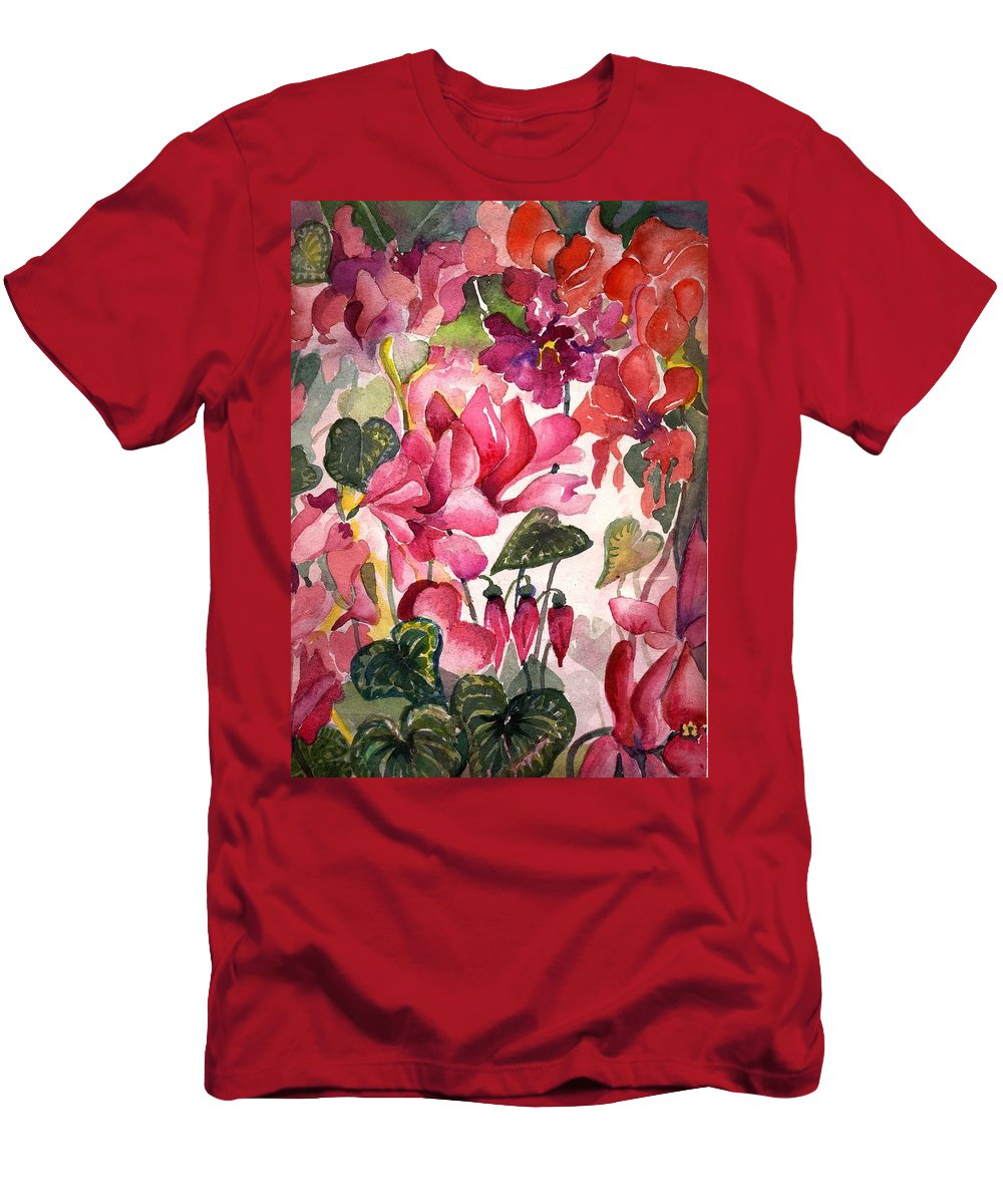 Cyclamen Men's T-Shirt (Athletic Fit) featuring the painting Cyclamen by Mindy Newman