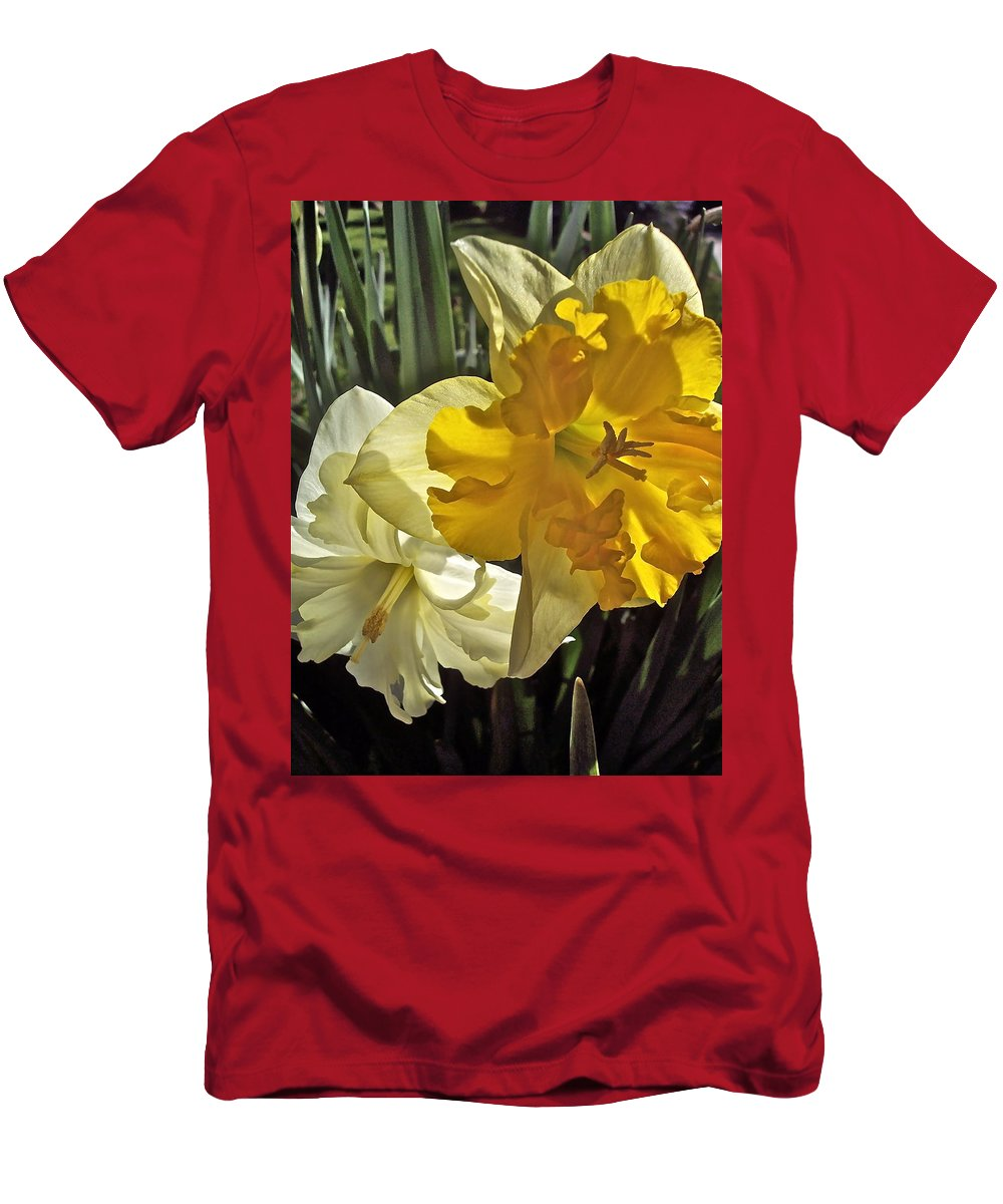 Flowers Men's T-Shirt (Athletic Fit) featuring the photograph Daffodils 4 by Pamela Cooper