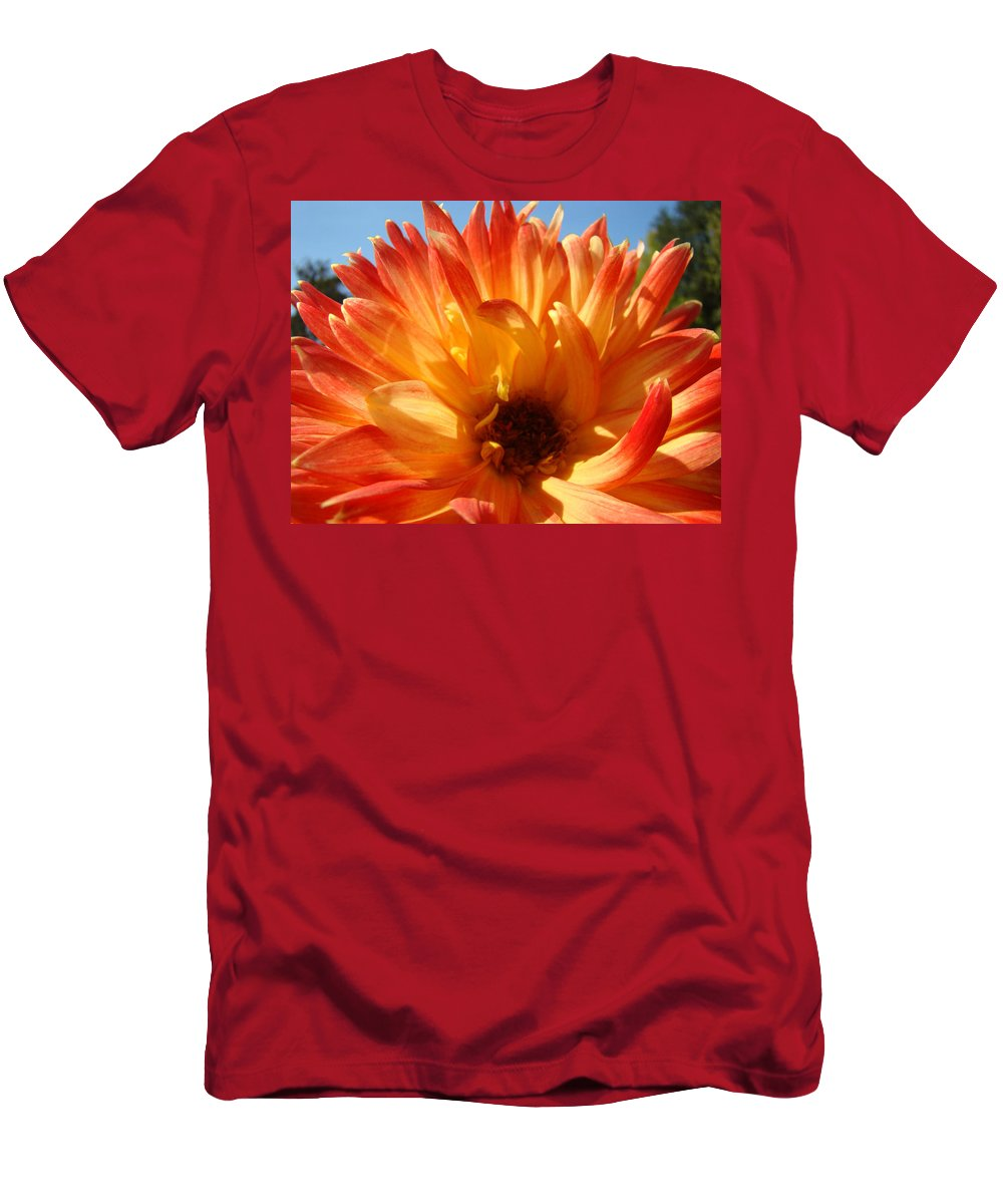 Dahlia Men's T-Shirt (Athletic Fit) featuring the photograph Dahlia Floral Orange Yellow Flower Botanical Art Prints Canvas Baslee Troutman by Baslee Troutman