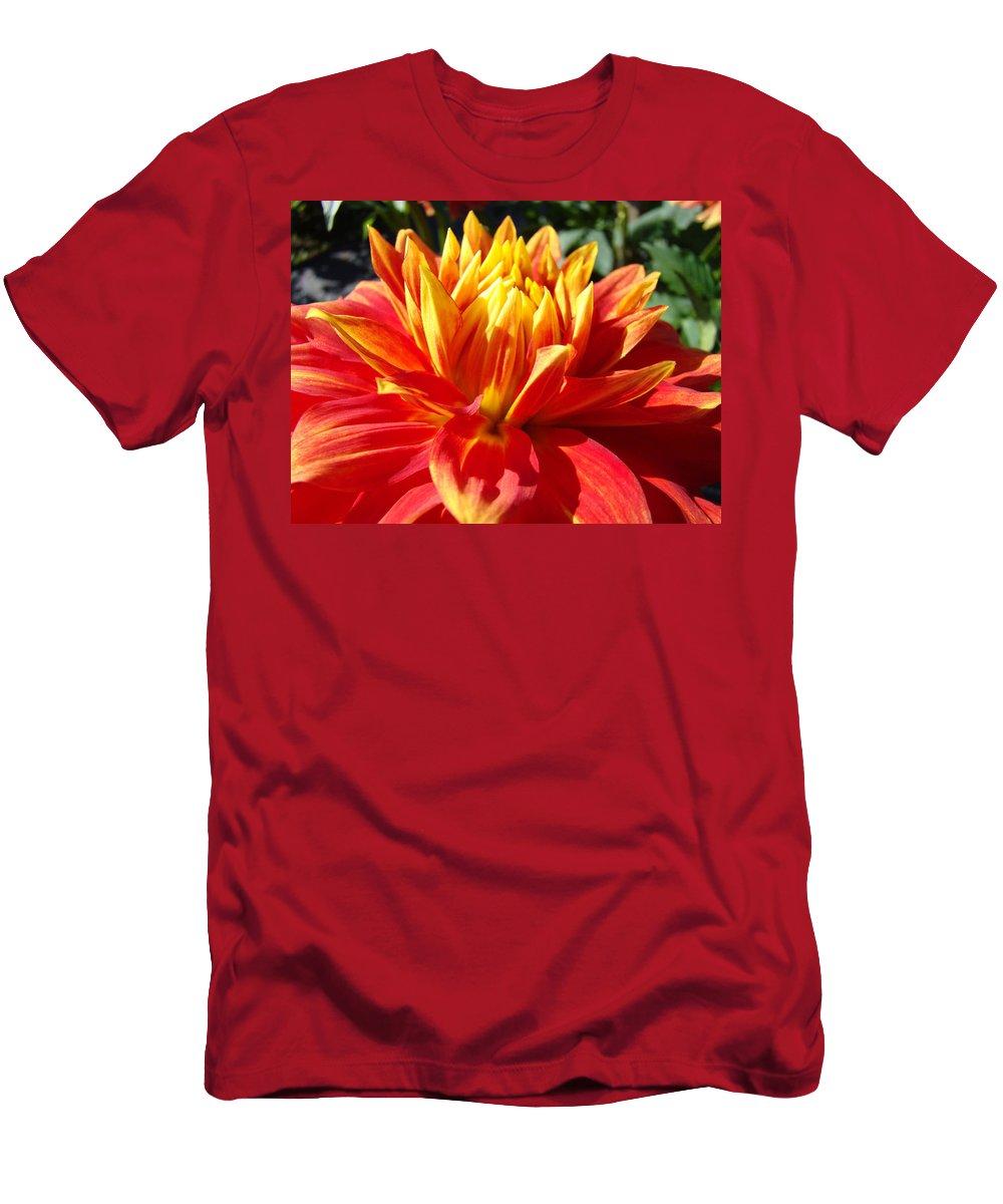 Dahlia Men's T-Shirt (Athletic Fit) featuring the photograph Dahlia Florals Orange Dahlia Flower Art Prints Canvas by Baslee Troutman