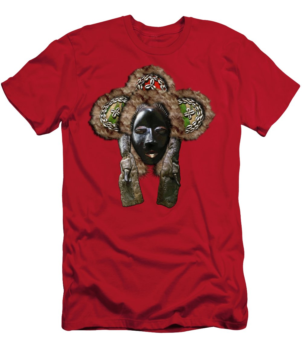 'treasures Of Africa' Collection By Serge Averbukh Men's T-Shirt (Athletic Fit) featuring the digital art Dan Dean-gle Mask Of The Ivory Coast And Liberia On Red Leather by Serge Averbukh