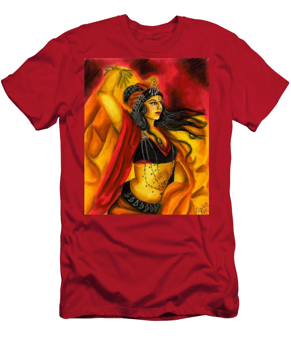 Belly Dancer T-Shirt featuring the drawing Dancing with Fire by Scarlett Royal