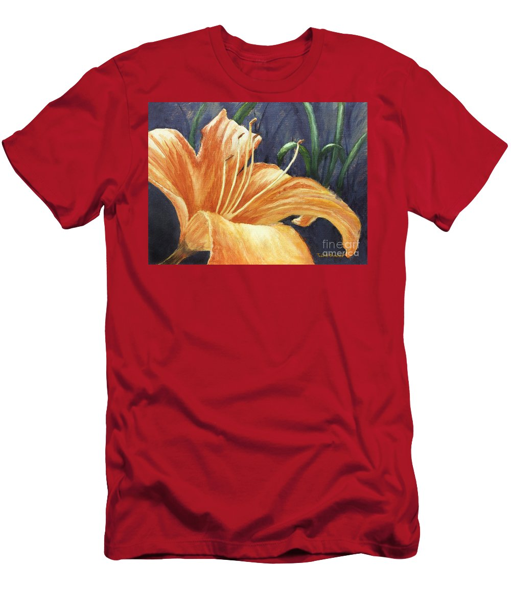 Flower Men's T-Shirt (Athletic Fit) featuring the painting Daylily by Todd Blanchard