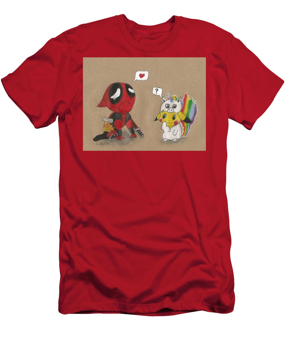 bcde50971 Deadpool Men's T-Shirt (Athletic Fit) featuring the drawing Deadpool's  Pikachu Love by