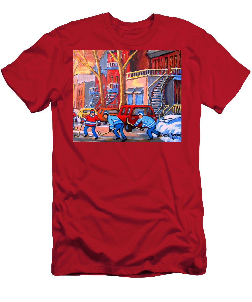 Debullion Street Hockey Stars Men's T-Shirt (Athletic Fit) featuring the painting Debullion Street Hockey Stars by Carole Spandau