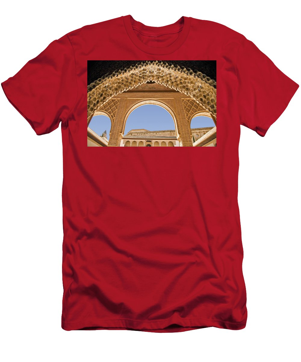 Architecture Men's T-Shirt (Athletic Fit) featuring the photograph Decorative Moorish Architecture In The Nasrid Palaces At The Alhambra Granada Spain by Mal Bray