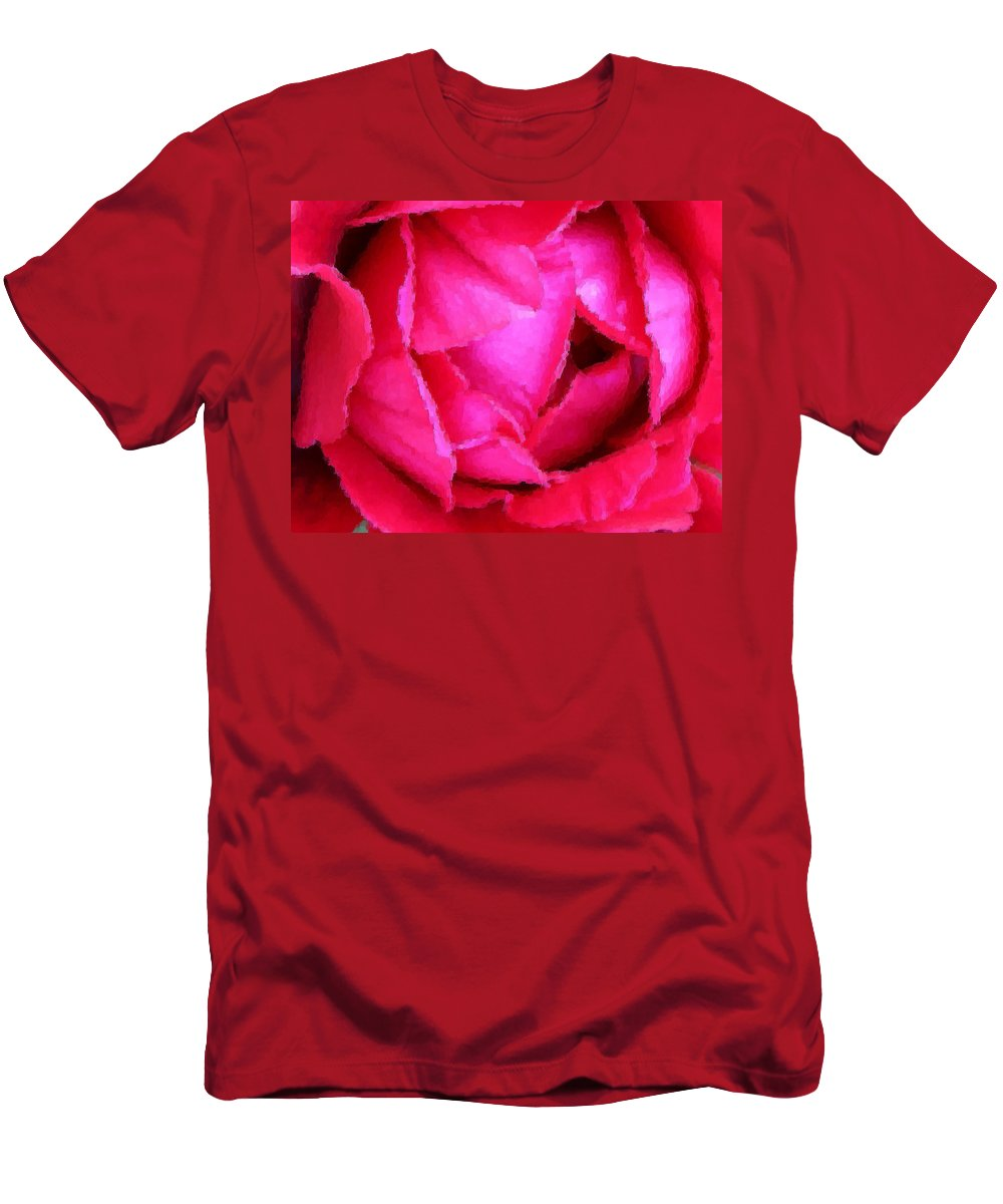 Rose Men's T-Shirt (Athletic Fit) featuring the photograph Deep Inside The Rose by Kristin Elmquist