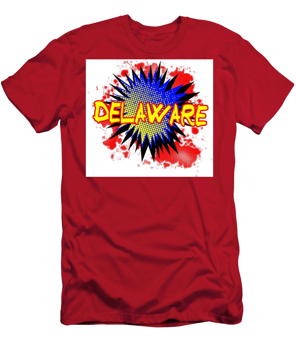 Delaware Men's T-Shirt (Athletic Fit) featuring the digital art Delaware Comic Exclamation by Bigalbaloo Stock