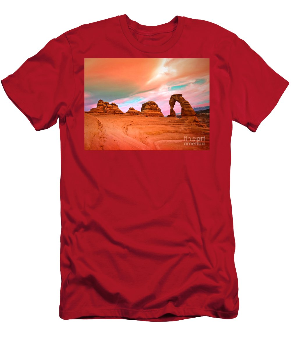 Delicate Arch Men's T-Shirt (Athletic Fit) featuring the photograph Delicate Arch by Tara Turner