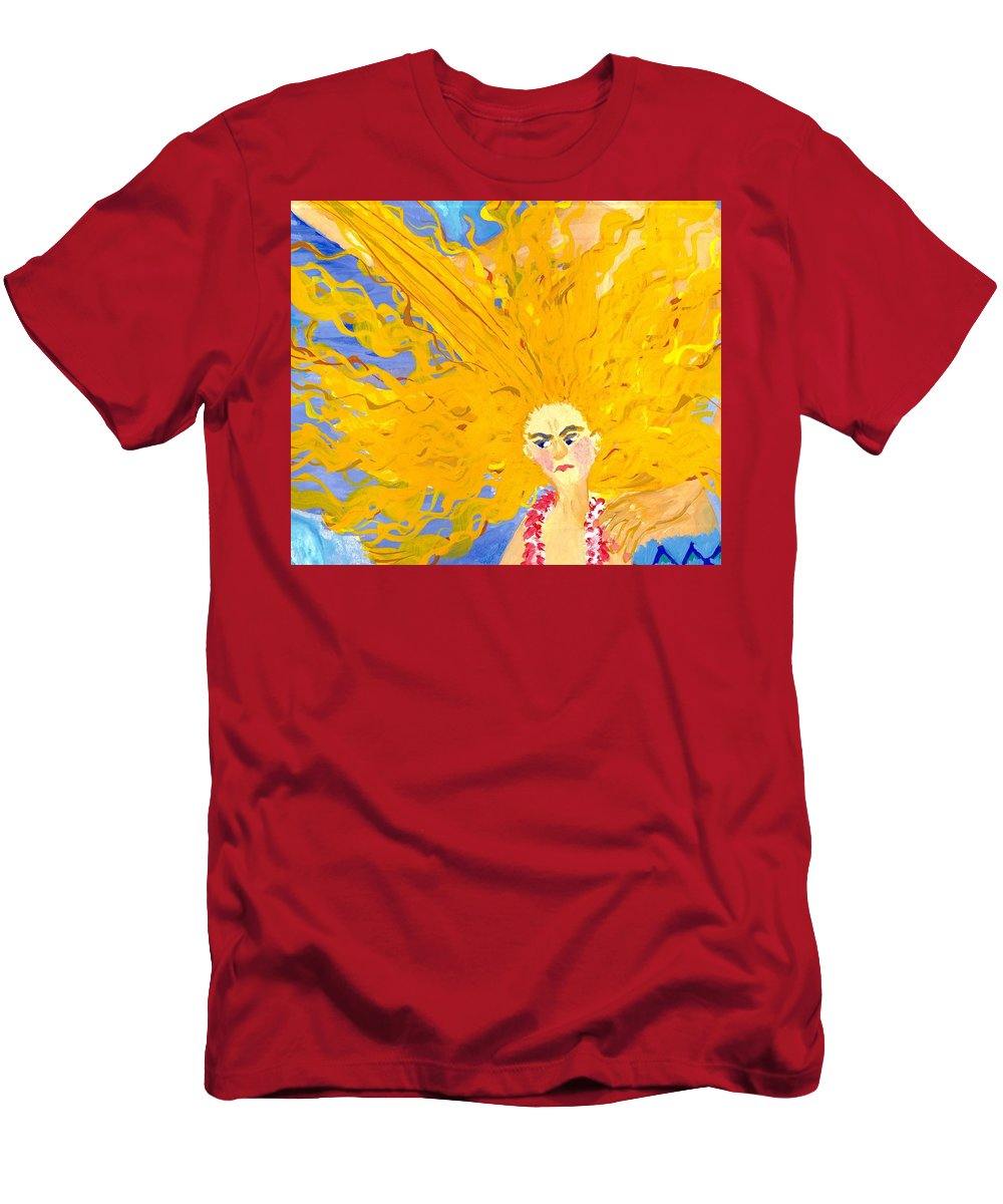 Sue Burgess Men's T-Shirt (Athletic Fit) featuring the painting Detail Of Mer Mum And Comb The Daughter by Sushila Burgess