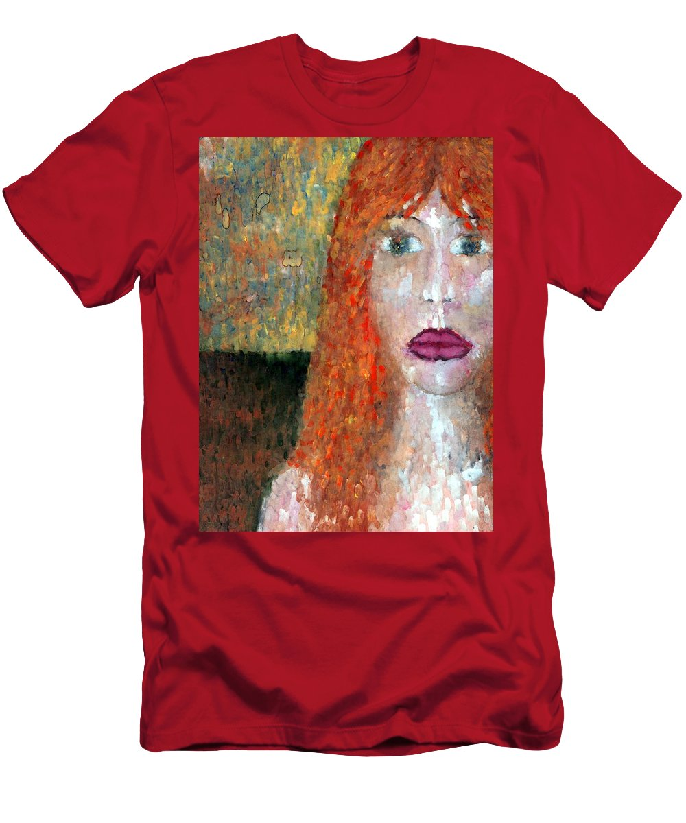 Imagination Men's T-Shirt (Athletic Fit) featuring the painting Distrust by Wojtek Kowalski