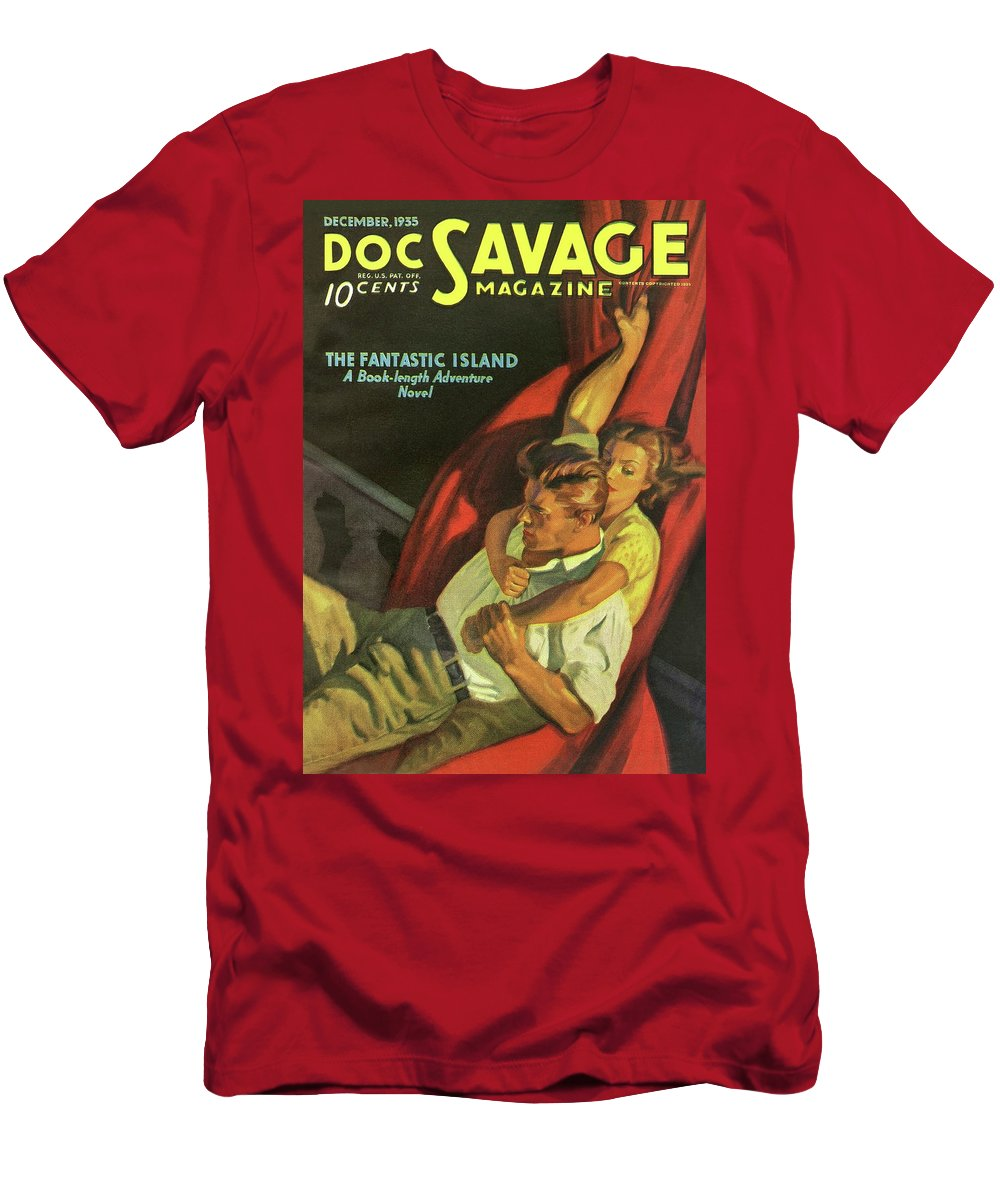 Comic Men's T-Shirt (Athletic Fit) featuring the drawing Doc Savage The Fantastic Island by Conde Nast