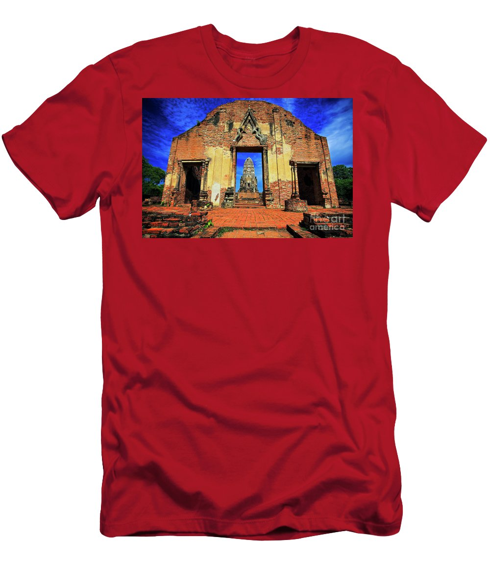 Ayuthaya Men's T-Shirt (Athletic Fit) featuring the photograph Doorway To Wat Ratburana In Ayutthaya, Thailand by Sam Antonio Photography